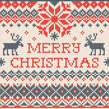 Merry Christmas: Scandinavian or russian style knitted embroider Stock Image