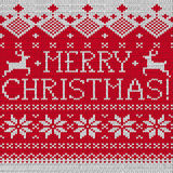 Merry Christmas Scandinavian seamless knitted pattern Royalty Free Stock Photos