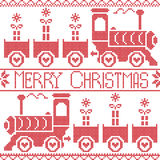 Merry Christmas Scandinavian seamless Nordic pattern with gravy train, Xmas gifts, heart stars, snowflakes in red cross stitch Stock Photography