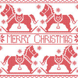 Merry Christmas Scandinavian seamless Nordic pattern , rocking dala pony horse, stars, snowflakes in red cross stitch Stock Photography