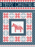 Merry Christmas Scandinavian style card, inspired by Norwegian Christmas, festive winter seamless pattern with Dala Horse. Merry Christmas Scandinavian style Stock Photography