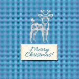 Merry Christmas Scandinavian style knitted card. White knitted deer and Christmas text tape on blue wool background. Vector illustration Royalty Free Illustration