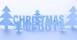 Merry Christmas Scene Made Out of Paper. stock photo