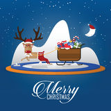Merry Christmas scene with reindeer pulling Santa Clauss sleigh. Cartoon character. Vector. Royalty Free Stock Photos