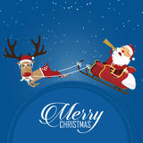 Merry Christmas scene with reindeer pulling Santa Clauss sleigh. Cartoon character. Vector. Stock Photography