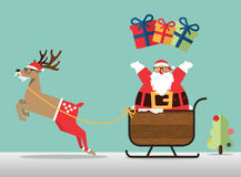 Merry Christmas scene with reindeer, sleigh and Santa clause sprinkle the gift. Stock Image