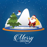 Merry Christmas scene with Santa Claus carrying sack full of gifts. Cartoon character. Vector. Stock Images