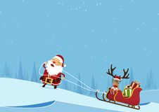 Merry Christmas scene with Santa Claus pulling Santa Claus`s sleigh and reindeer on pine forest winter landscape background. Cartoon character in flat design royalty free illustration