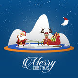Merry Christmas scene with Santa Claus pulling Santa Clauss sleigh and reindeer. Cartoon character. Vector Stock Photos