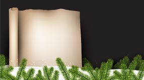 Merry Christmas scroll background. New Year scroll background with fir branches and snow. Vector paper illustration.r Stock Photography