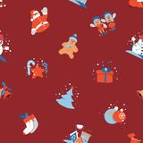 Merry Christmas seamless background with Santa Claus, Kids cute cartoon character. Merry Christmas seamless background with Santa Claus, Kids and Christmas tree royalty free illustration