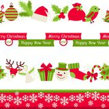 Merry Christmas seamless borders Royalty Free Stock Photos