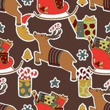 Merry Christmas seamless brown pattern background. Stock Images