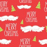 Merry Christmas seamless mustache pattern. Royalty Free Stock Images