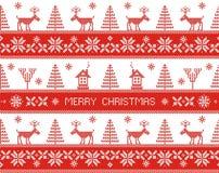 Merry christmas. Seamless nordic pattern. Vector illustration Stock Photo
