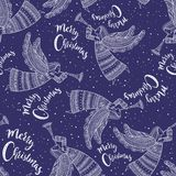 Merry Christmas seamless pattern with angel blue color. Merry Christmas seamless pattern with angel with horn and snow in night sky with stars. Can be printed Royalty Free Stock Images