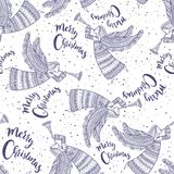 Merry Christmas seamless pattern with angel. With horn and snow in night sky with stars. Can be printed and used as wrapping paper, background, wallpaper Royalty Free Stock Photos