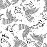 Merry Christmas seamless pattern with angel. With horn and snow in night sky with stars. Can be printed and used as wrapping paper, background, wallpaper Royalty Free Stock Photo