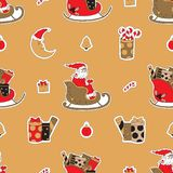 Merry Christmas seamless pattern background. Santa, gifts, candy and moon vector illustration. Xmas doodle wallpaper Stock Photos