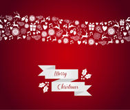 Merry Christmas seamless pattern border. Christmas holidays card seamless pattern wave border. EPS10 vector file organized in layers for easy editing Stock Image