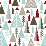 Merry Christmas. A seamless pattern with Christmas trees in the style of flat, naive. Vector illustration Stock Photo