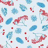 Merry Christmas. A seamless pattern on a festive theme with natural elements in the form of berries of mountain ash, cones of pine. And spruce. Vector Stock Image