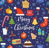 Merry Christmas seamless pattern, flat style. Holiday infinite background. New Year repeating texture. Vector. Illustration Stock Image