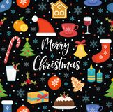 Merry Christmas seamless pattern, flat style. Holiday infinite background. New Year repeating texture. Vector. Illustration Royalty Free Stock Photos