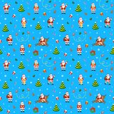 Merry Christmas seamless pattern with funny Santa Claus Stock Photo