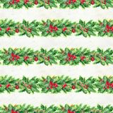 Merry Christmas seamless pattern with garlands. Watercolor Illustration with xmas decoration Royalty Free Stock Images