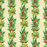 Merry Christmas seamless pattern with garlands. Watercolor Illustration with xmas tree decoration Royalty Free Stock Photography