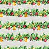 Merry Christmas seamless pattern with garlands. Watercolor Illustration with xmas tree decoration Royalty Free Stock Photo