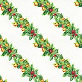 Merry Christmas seamless pattern with garlands. Watercolor Illustration with xmas decoration. Wrapping paper Stock Photos