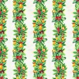 Merry Christmas seamless pattern with garlands. Watercolor Illustration with xmas tree decoration. Wrapping paper Stock Photo