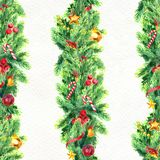 Merry Christmas seamless pattern with garlands. Watercolor Illustration with xmas decoration Stock Photo