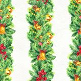 Merry Christmas seamless pattern with garlands. Watercolor Illustration with xmas decoration Stock Images