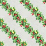 Merry Christmas seamless pattern with garlands. Watercolor Illustration with xmas decoration. Wrapping paper Stock Images