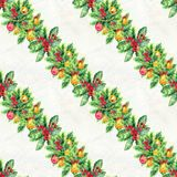 Merry Christmas seamless pattern with garlands. Watercolor Illustration with xmas decoration. Wrapping paper Stock Image