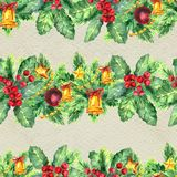 Merry Christmas seamless pattern with garlands. Watercolor Illustration with xmas tree decoration Royalty Free Stock Image