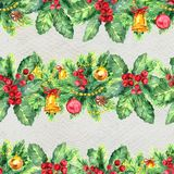 Merry Christmas seamless pattern with garlands. Watercolor Illustration with xmas tree decoration Stock Photo
