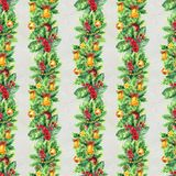 Merry Christmas seamless pattern with garlands. Watercolor Illustration with xmas tree decoration. Wrapping paper Royalty Free Stock Photos