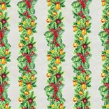 Merry Christmas seamless pattern with garlands. Watercolor Illustration with xmas tree decoration. Wrapping paper Stock Photography