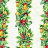 Merry Christmas seamless pattern with garlands. Watercolor Illustration with xmas tree decoration. Wrapping paper Stock Photos