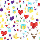 Merry Christmas Seamless Pattern. With Gift, Happy Xmas Deer, Santa Claus Hat, Holly berries, Caramel Wand. Design Background Elements for invitation, greeting Stock Photography