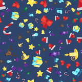 Merry Christmas Seamless Pattern. With Gift, Happy Xmas Deer, Santa Claus Hat, Holly berries, Caramel Wand. Design Background Elements for invitation, greeting Royalty Free Stock Images