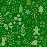 Merry Christmas seamless pattern, green plants. Happy New Year background, wrapping paper texture, silhouette.Classic elements Chr Royalty Free Stock Images