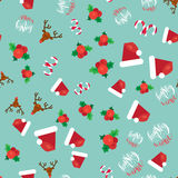 Merry Christmas Seamless Pattern. With Hand Drawn Lettering, Happy Xmas Deer, Santa Claus Hat, Holly berries, Caramel Wand. Design Elements for invitation Stock Photos