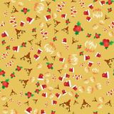 Merry Christmas Seamless Pattern. With Hand Drawn Lettering, Happy Xmas Deer, Santa Claus Hat, Holly berries, Caramel Wand. Design Elements for invitation Royalty Free Stock Images