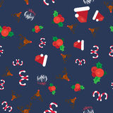 Merry Christmas Seamless Pattern. With Hand Drawn Lettering, Happy Xmas Deer, Santa Claus Hat, Holly berries, Caramel Wand. Design Elements for invitation Royalty Free Stock Image