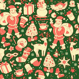 Merry Christmas seamless pattern, Happy New Year background, wra Stock Images